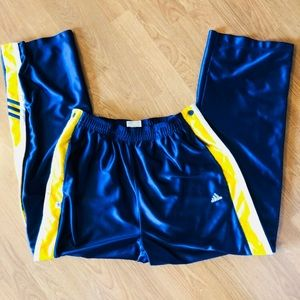 TEAR AWAY BLUE AND YELLOW ADIDAS ATHLETIC PANTS M